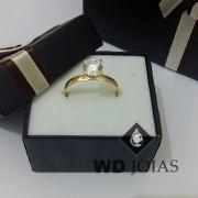 Anel Solitário Ouro Polida 2g MJA02