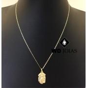 Corrente de Ouro Piastrine com Pingente 60 cm 5gr WD8956