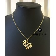 Corrente Ouro 18k Feminina Com Coração 40 cm 4,5gr WD8904