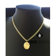 Corrente Ouro 18k Groumet Com Pingente 55 cm 18gr WD8876