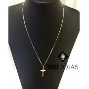 Corrente Ouro 18k Piastrine Com Pingente 55 cm 3,7gr WD8872