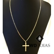 Corrente Ouro 18k Piastrine Com Pingente 55 cm 6 gr WD8875