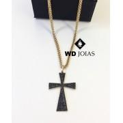 Corrente Ouro Italiano Pingente Crucifixo 45cm 11,8g WD8899