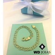 Pulseira de Ouro Elos Duplo Feminino 17cm 8gr WD8979