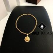 Pulseira de Ouro Entrelaçada Feminino 18cm 6,6gr WD8992