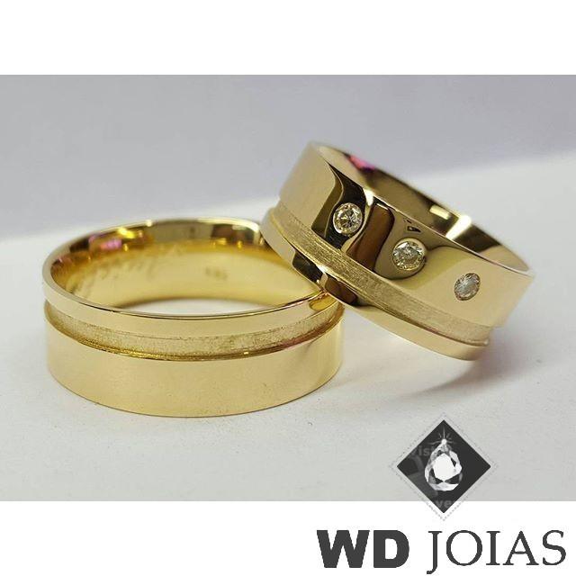 Aliança Casamento Moeda Antiga Polida e Fosca 9mm MJM105