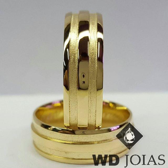 Aliança Casamento Moeda Antiga Polida e Fosco 7mm MJM126