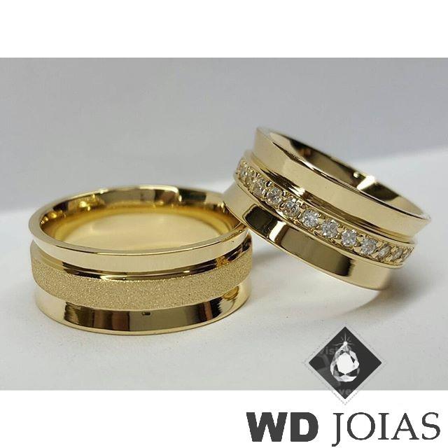 Aliança Casamento Moeda Antiga Polida e Fosco 9mm MJM128