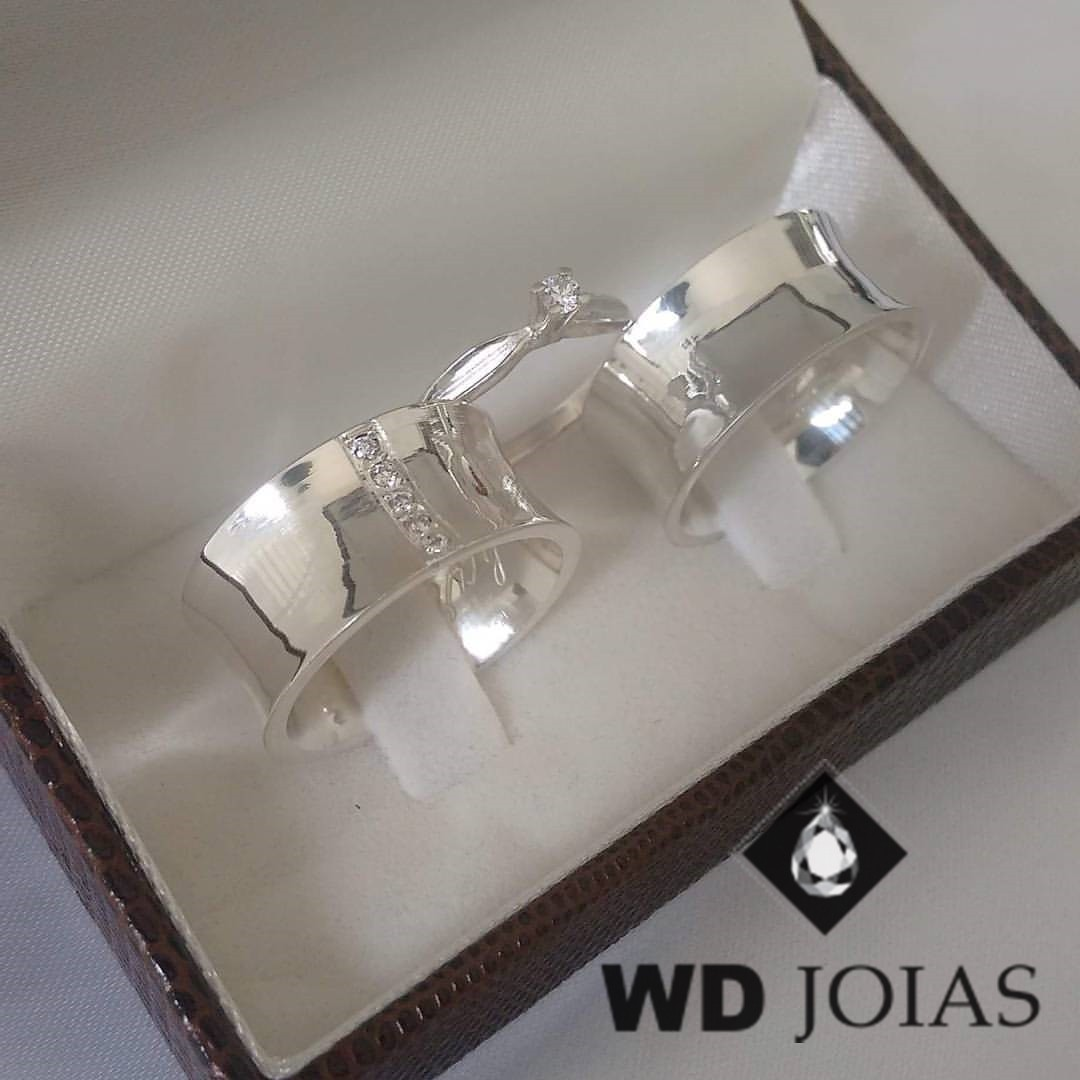 Aliança Compromisso Prata Côncava Polida 10mm 25g MJP47