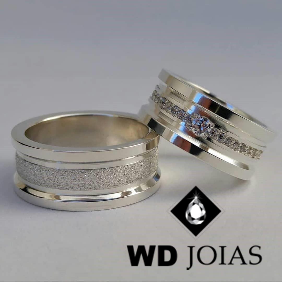 Aliança Compromisso Prata Polida e Diamantada 9mm 24g MJP58
