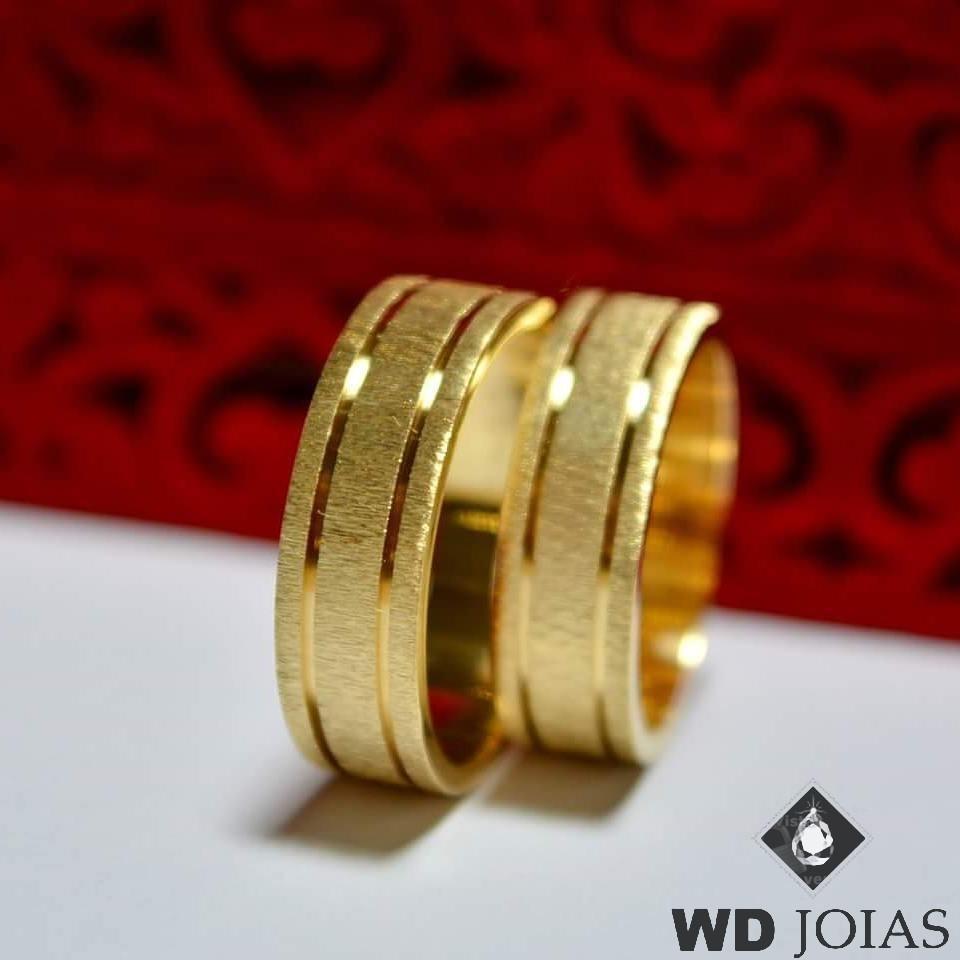 Aliança de Casamento Ouro Fosco Rústico 7mm 12g WD8752