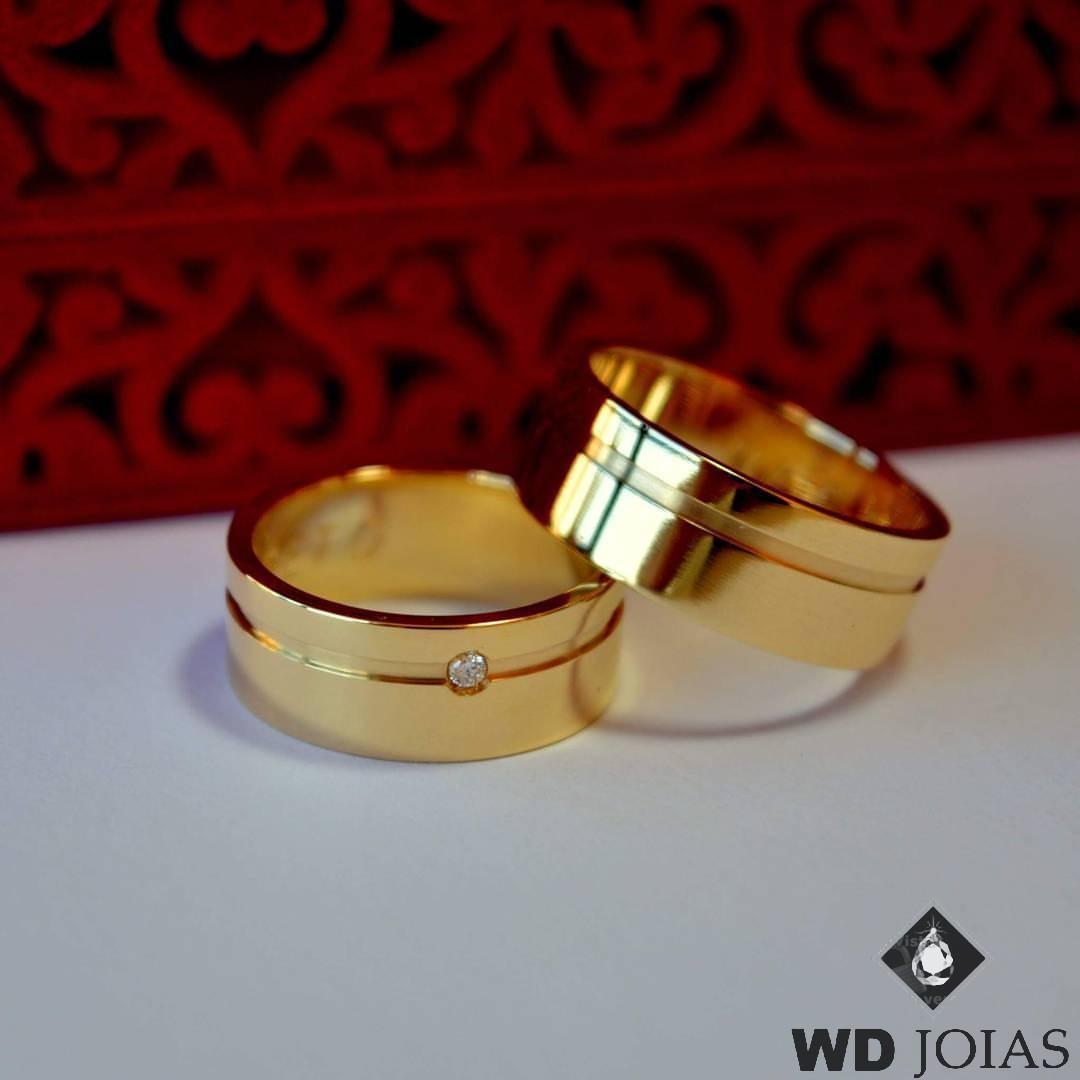 Aliança de Casamento Ouro Polida Com Friso 7mm 14g WD8736