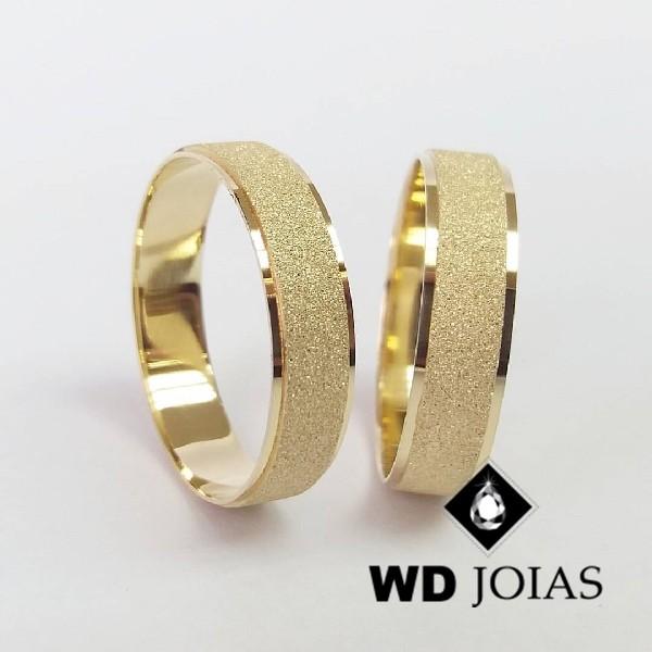 Aliança de Casamento Ouro Polida Diamantada 5mm 10g WD8830