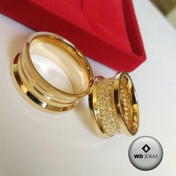 Aliança de Casamento Ouro Polida e Cravejada 8mm 25g WD8770