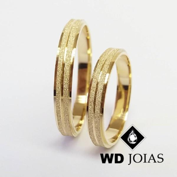 Aliança de Casamento Ouro Polida e Diamantada 3mm 6g WD8777