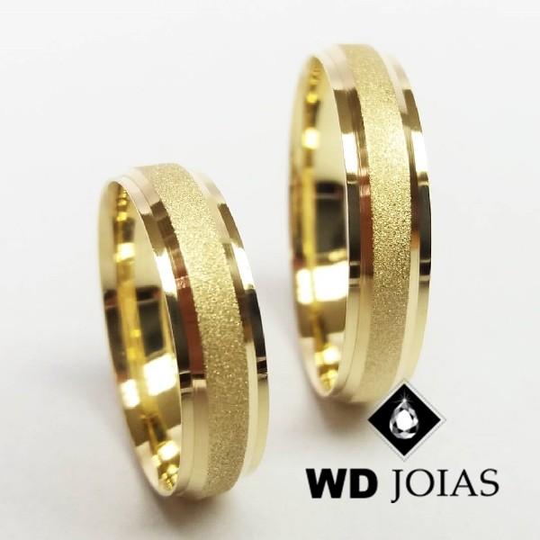 Aliança de Casamento Ouro Polida e Diamantada 4mm 8g WD8775