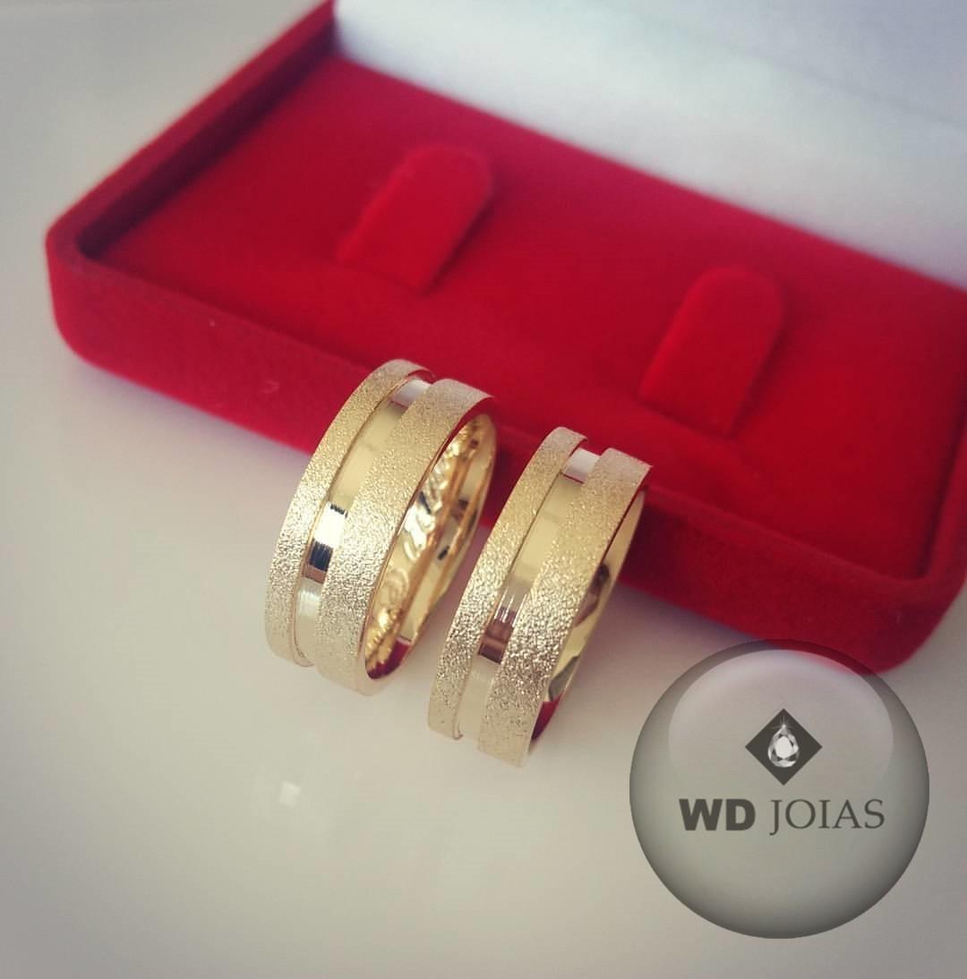 Aliança de Casamento Ouro Polida e Fosca 7mm 12g WD8755