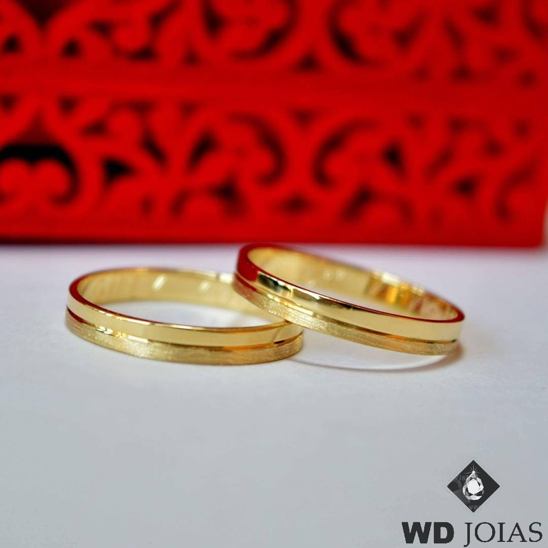 Aliança de Casamento Ouro Polida e Fosco 3mm 4g MJO18