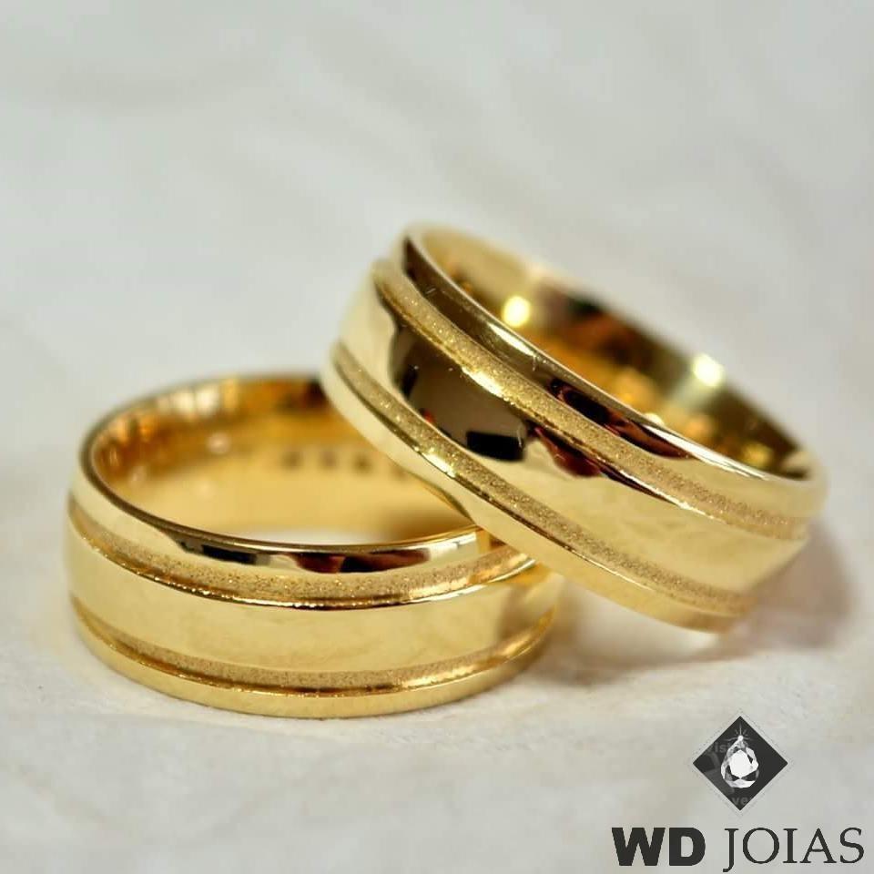 Aliança de Casamento Ouro Polida e Fosco 7mm 14g WD8751