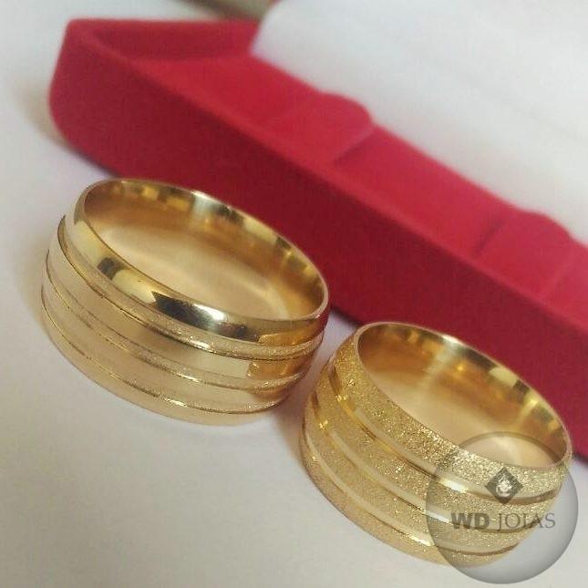 Aliança de Casamento Ouro Polida Fosca Abaulada 28g WD8762