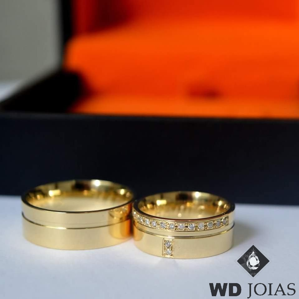 Aliança de Casamento Ouro Polida Reta Tradicional 17g MJO26