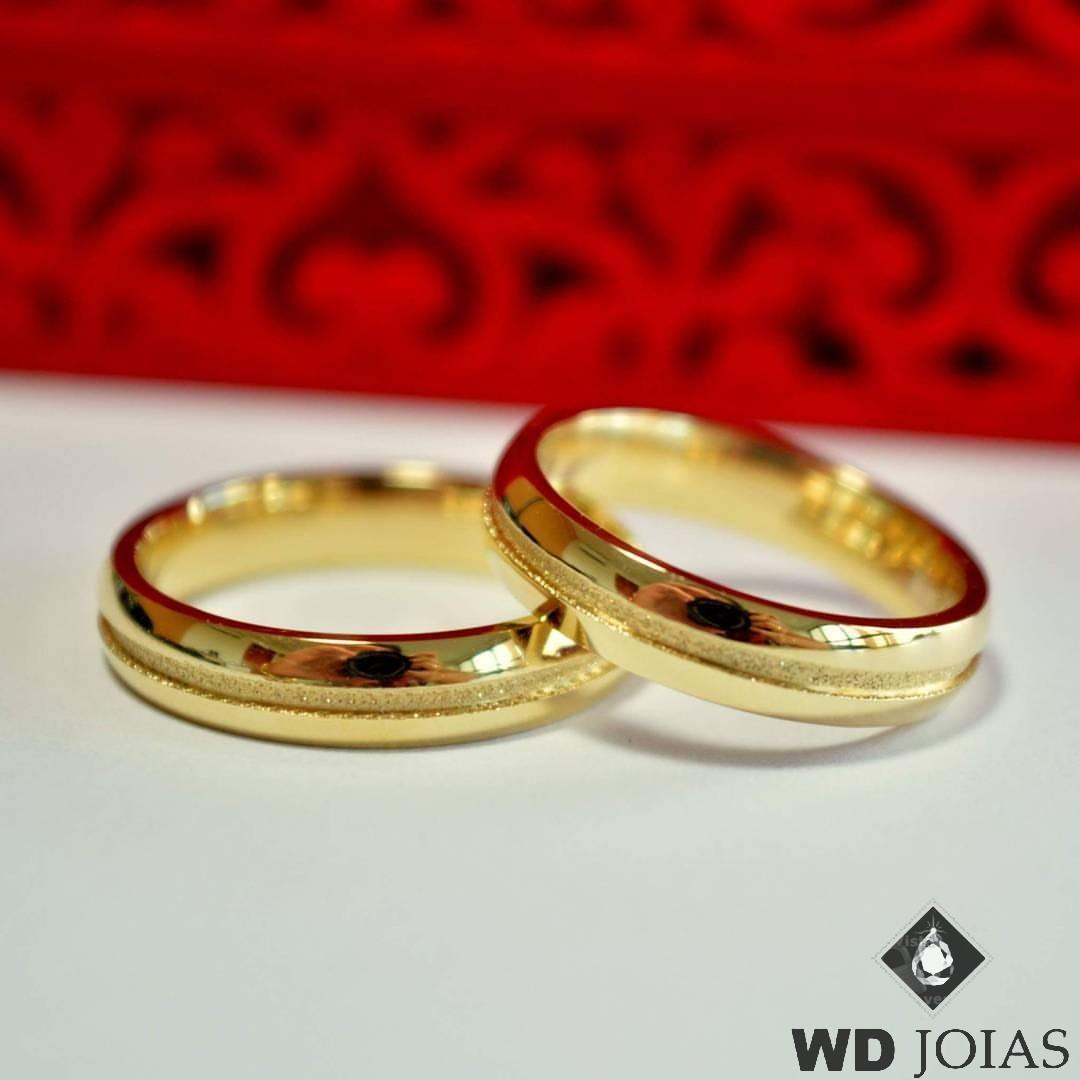 Aliança de Casamento Ouro Polida Reta Tradicional 8g WD8738