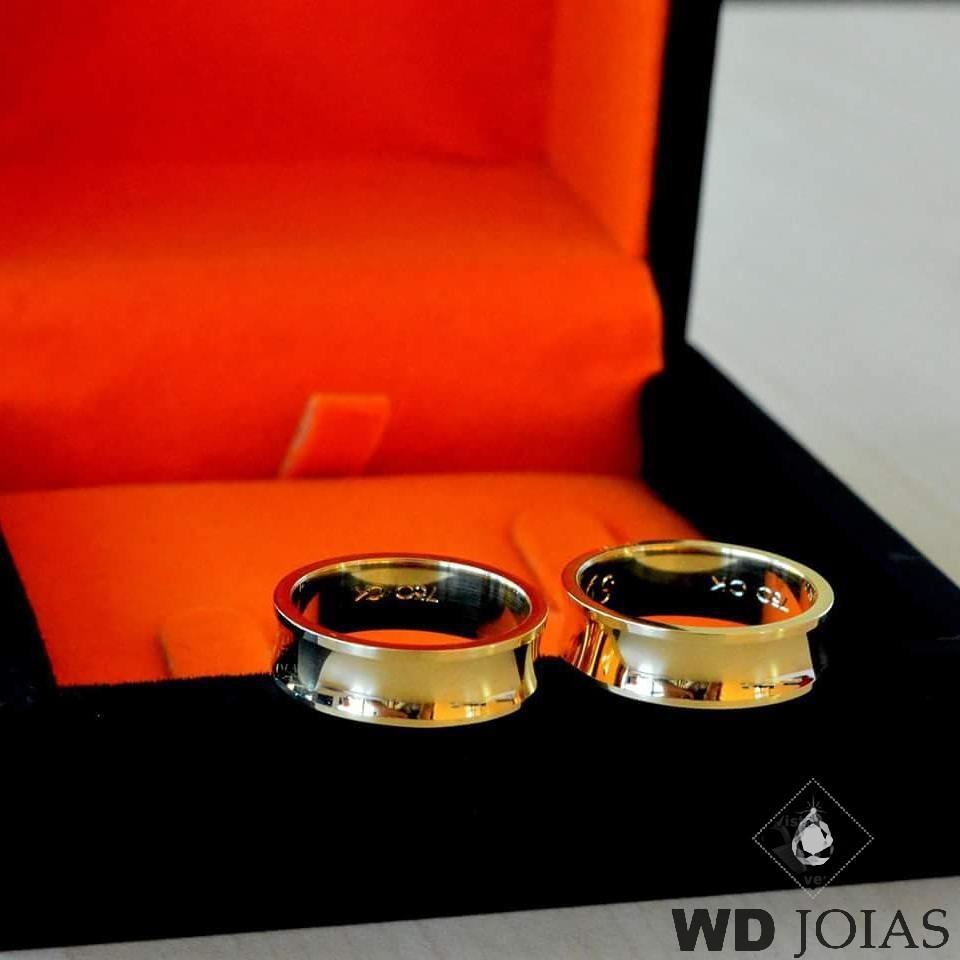 Aliança de Casamento Ouro Polidas Concavas 6,0mm 12g MJO23