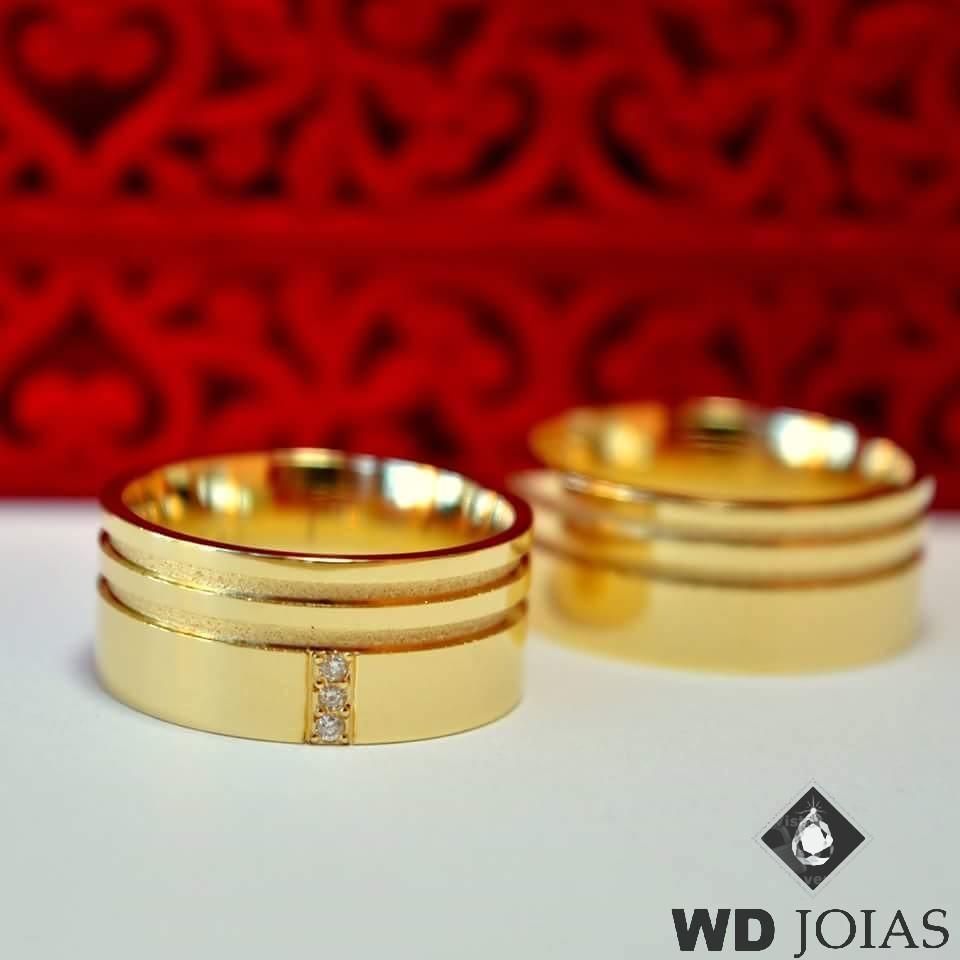 Aliança de Casamento Ouro Quadrada Polida 10mm 23g WD8748
