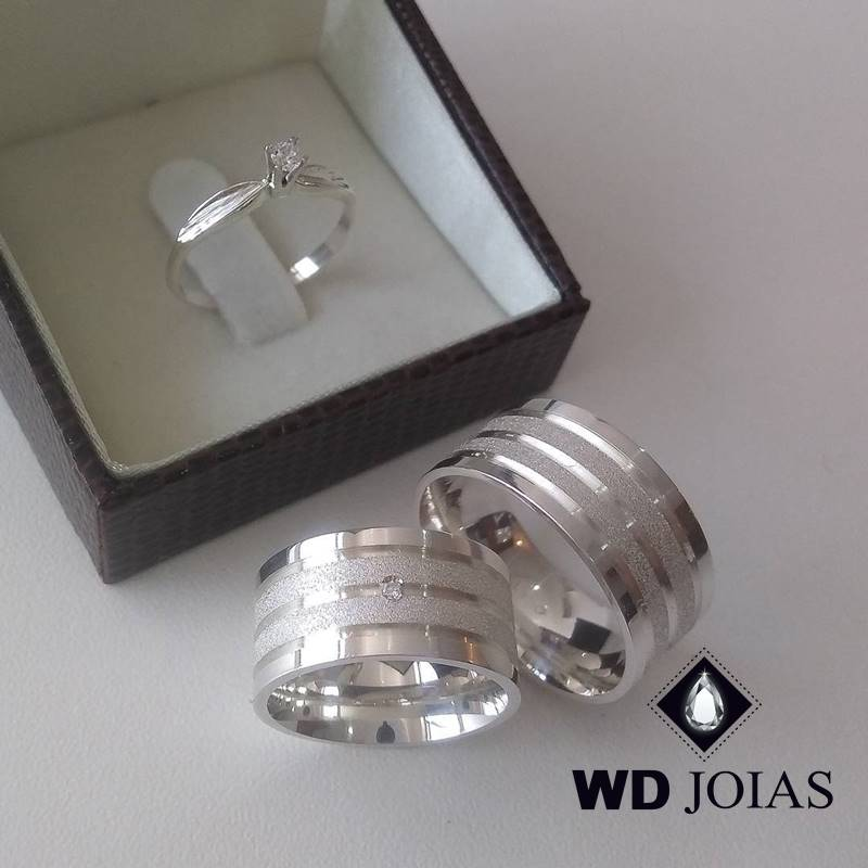 Aliança de Compromisso Polida e Diamantada 10mm 22g MJP95
