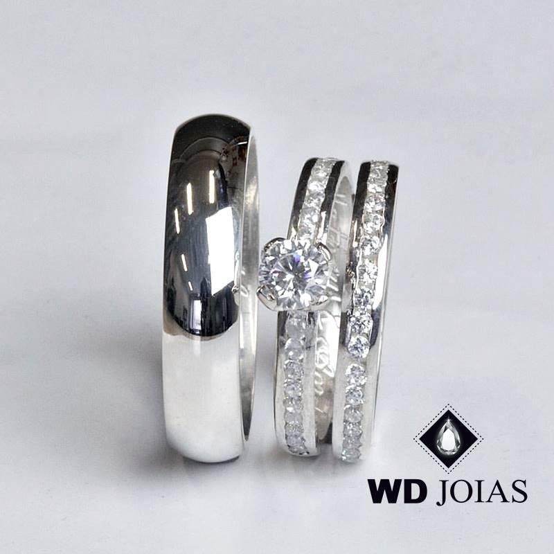Aliança de Compromisso Prata Com Pedras 6mm 14g MJP108