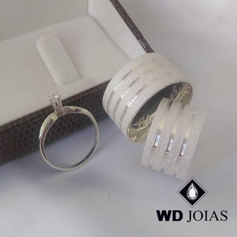Aliança de Compromisso Prata Diamantada 10mm 22g MJP94