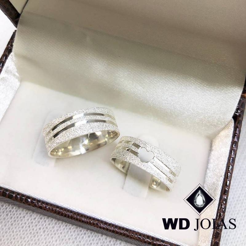 Aliança de Compromisso Prata Diamantada 7mm 16g MJP87