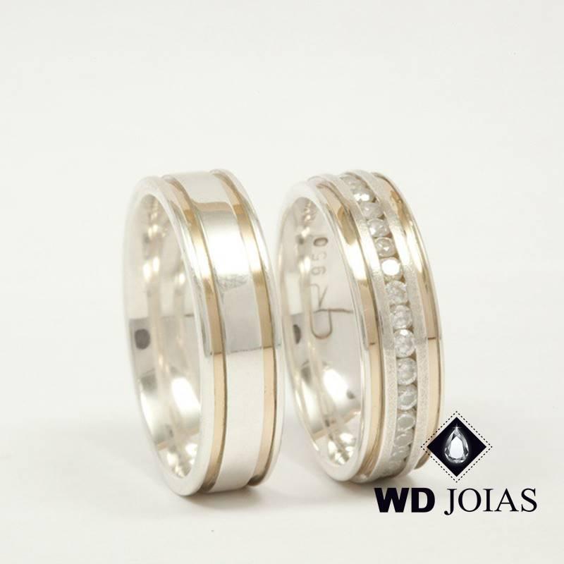 Aliança de Compromisso Prata e Ouro Polida 6mm 16g MJP110