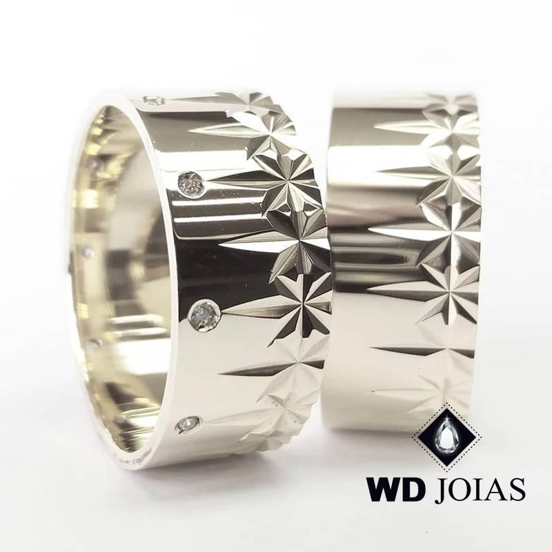 Aliança de Compromisso Prata Polida Bordada 10mm 20g MJP118