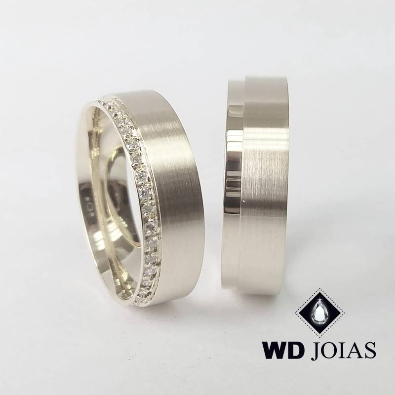 Aliança de Compromisso Prata Polida e Fosca 7mm 16g MJP114