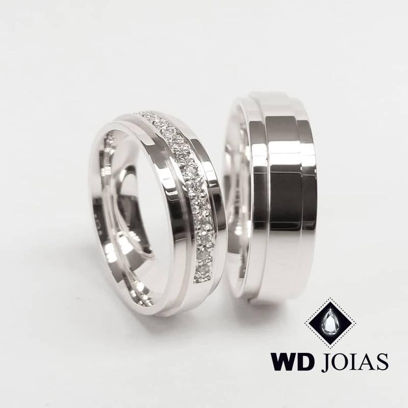 Aliança de Compromisso Prata Polida Quadrada 7mm 16g MJP115