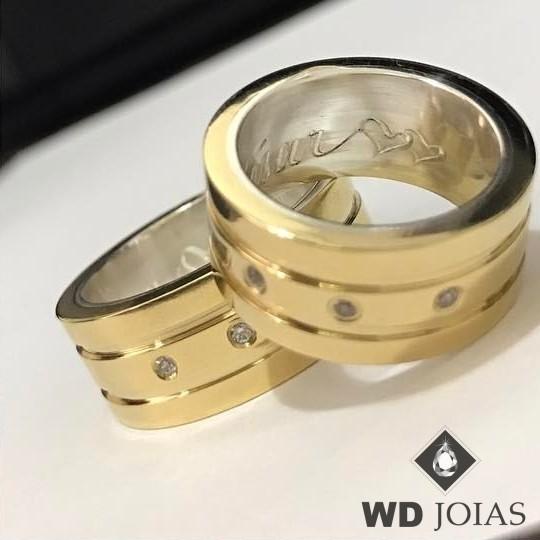 Aliança de Moeda Antiga Casamento Polida e Reta 10mm MJM149