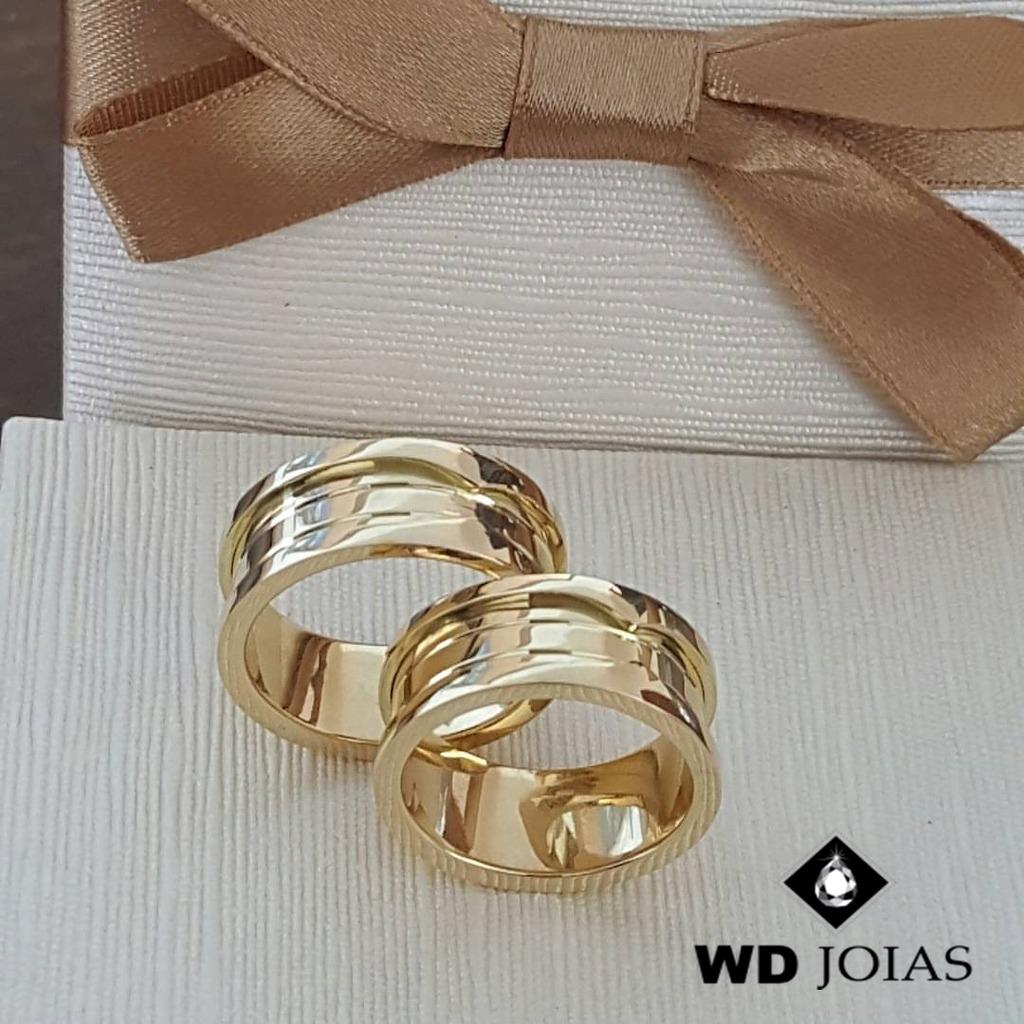 Aliança de Ouro Casamento Tradicional 24g 10mm WD8725