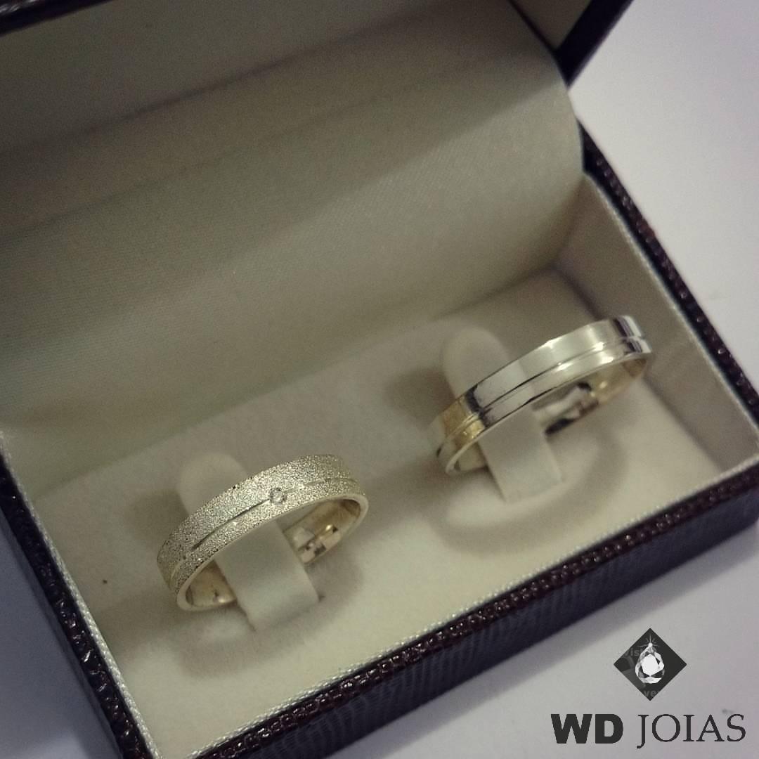 Aliança Prata Compromisso Polida e Diamantada 4mm 10g MJP13