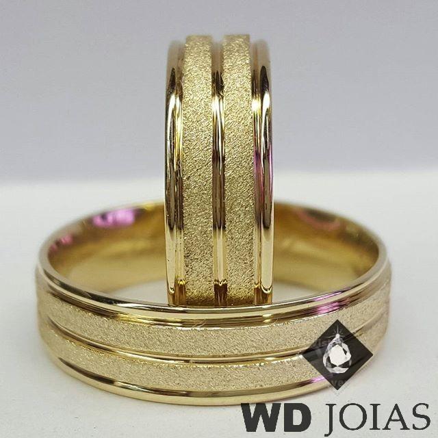 Alianças Casamento Moeda Antiga Diamantada 7mm MJM69