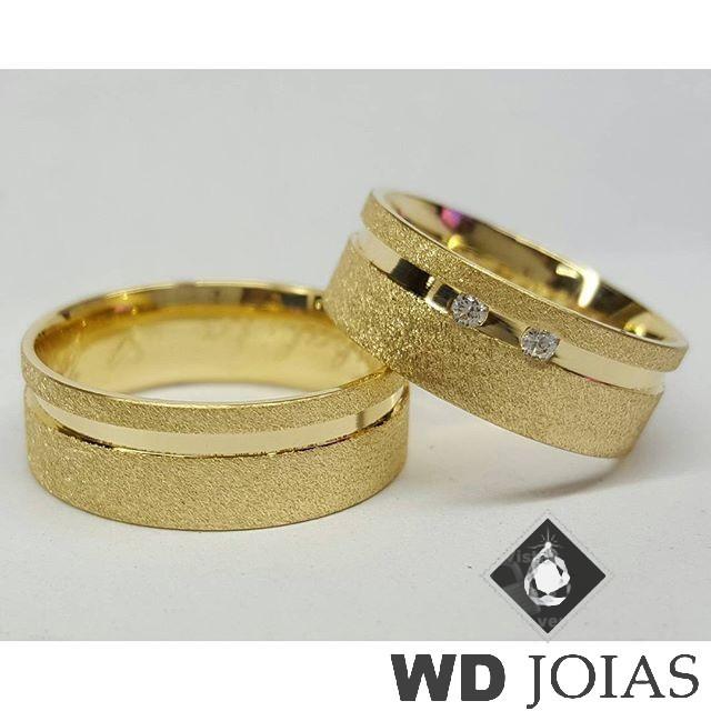 Alianças Casamento Moeda Antiga Diamantadas 7mm MJM33
