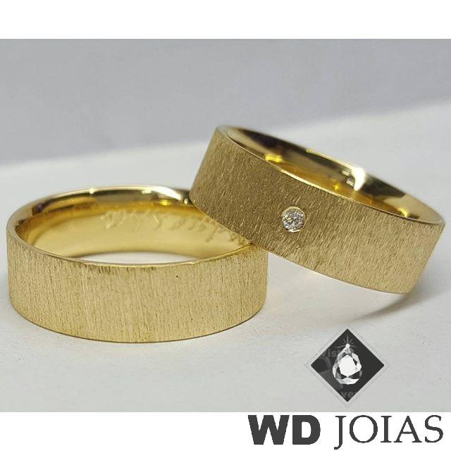 Alianças Casamento Moeda Antiga Diamantadas 7mm MJM39