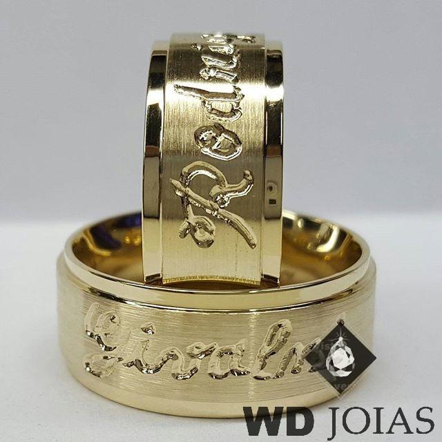 Alianças Casamento Moeda Antiga Fosca Com Nomes 9mm MJM62