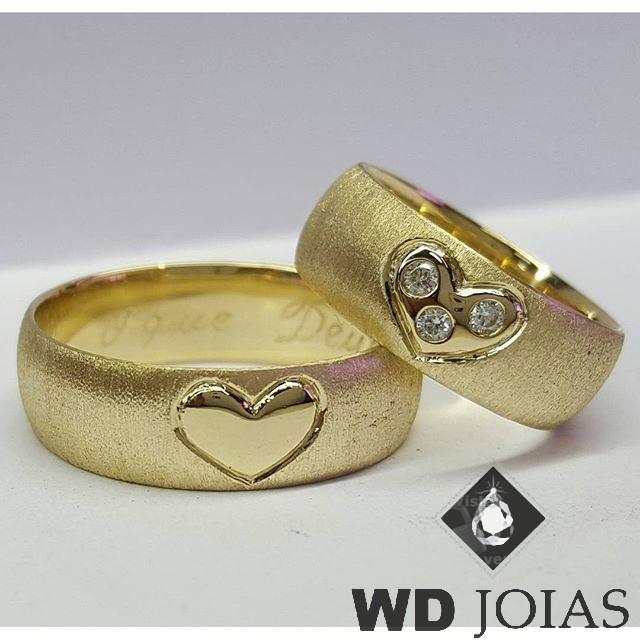 Alianças Casamento Moeda Antiga Fosco com Coração 7mm MJM42