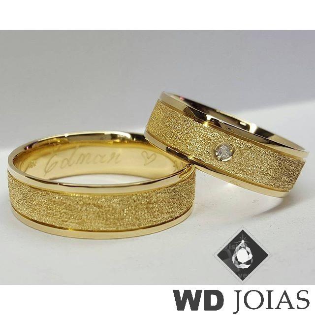 Alianças Casamento Moeda Antiga Polida Diamantada 6mm MJM40