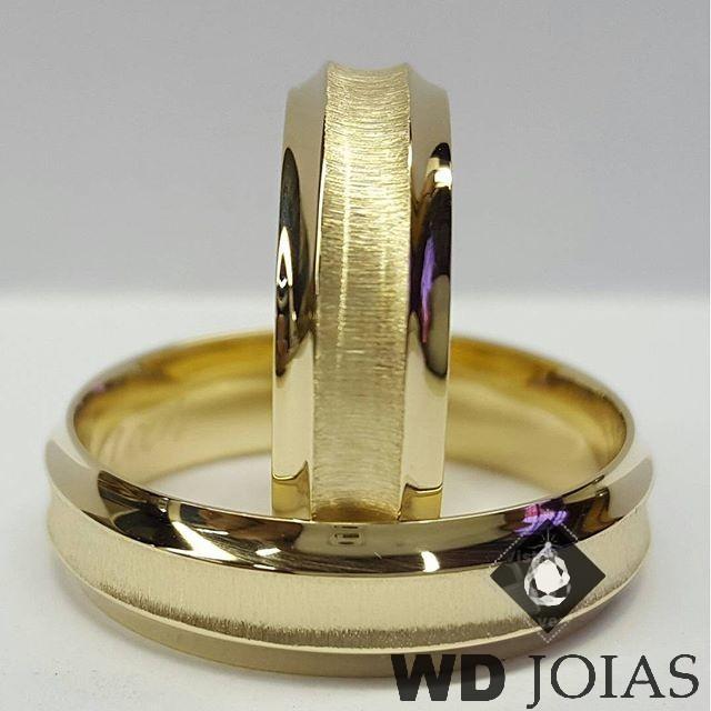 Alianças Casamento Moeda Antiga Polida e Fosca 7mm MJM24
