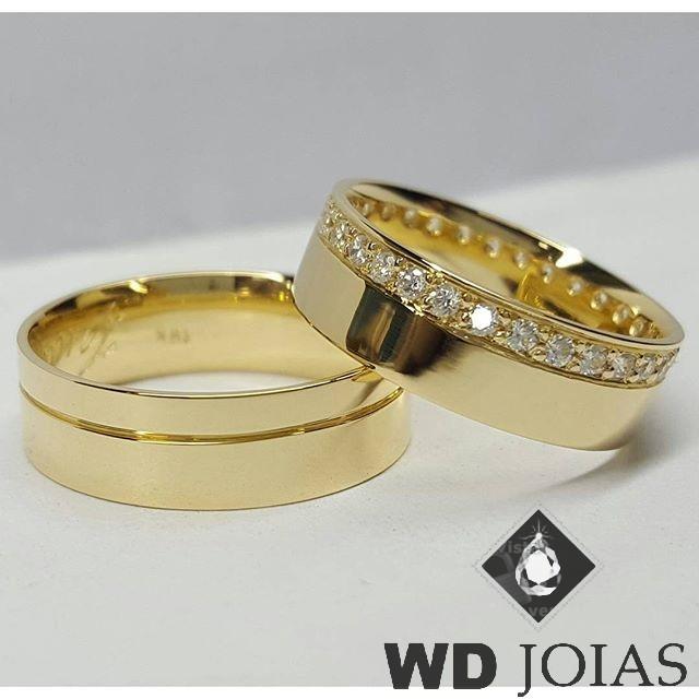 Alianças Casamento Moeda Antiga Reta Polidas 7mm MJM37