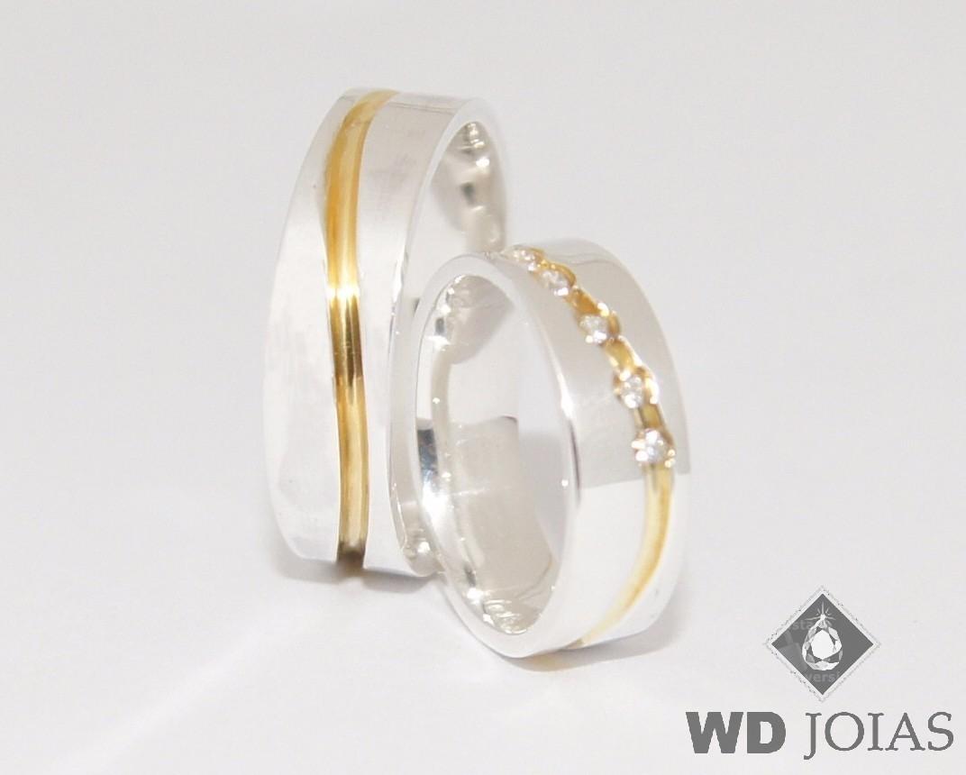 Alianças Compromisso Ouro e Prata Polida 6mm 12g MJP104