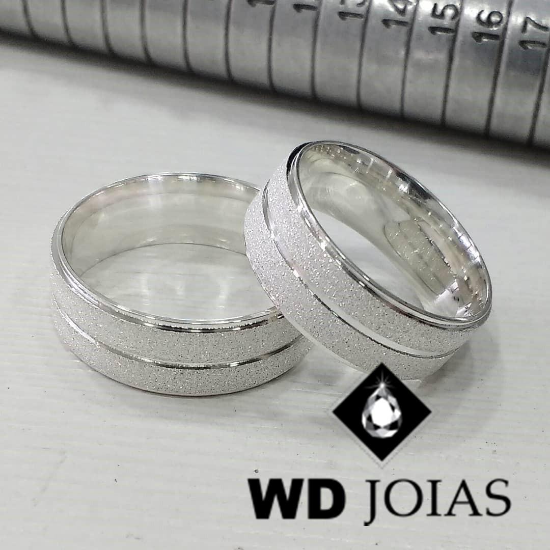 Alianças Compromisso Prata Diamantadas 7mm 15g MJP60