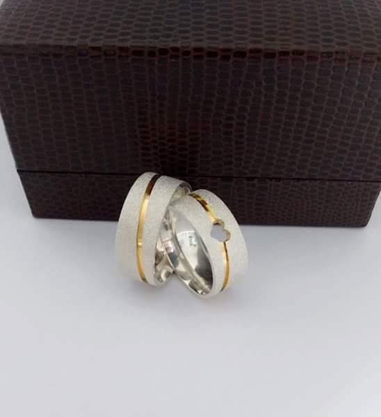 Alianças Compromisso Prata e Ouro Diamantada 8mm 15g MJP134
